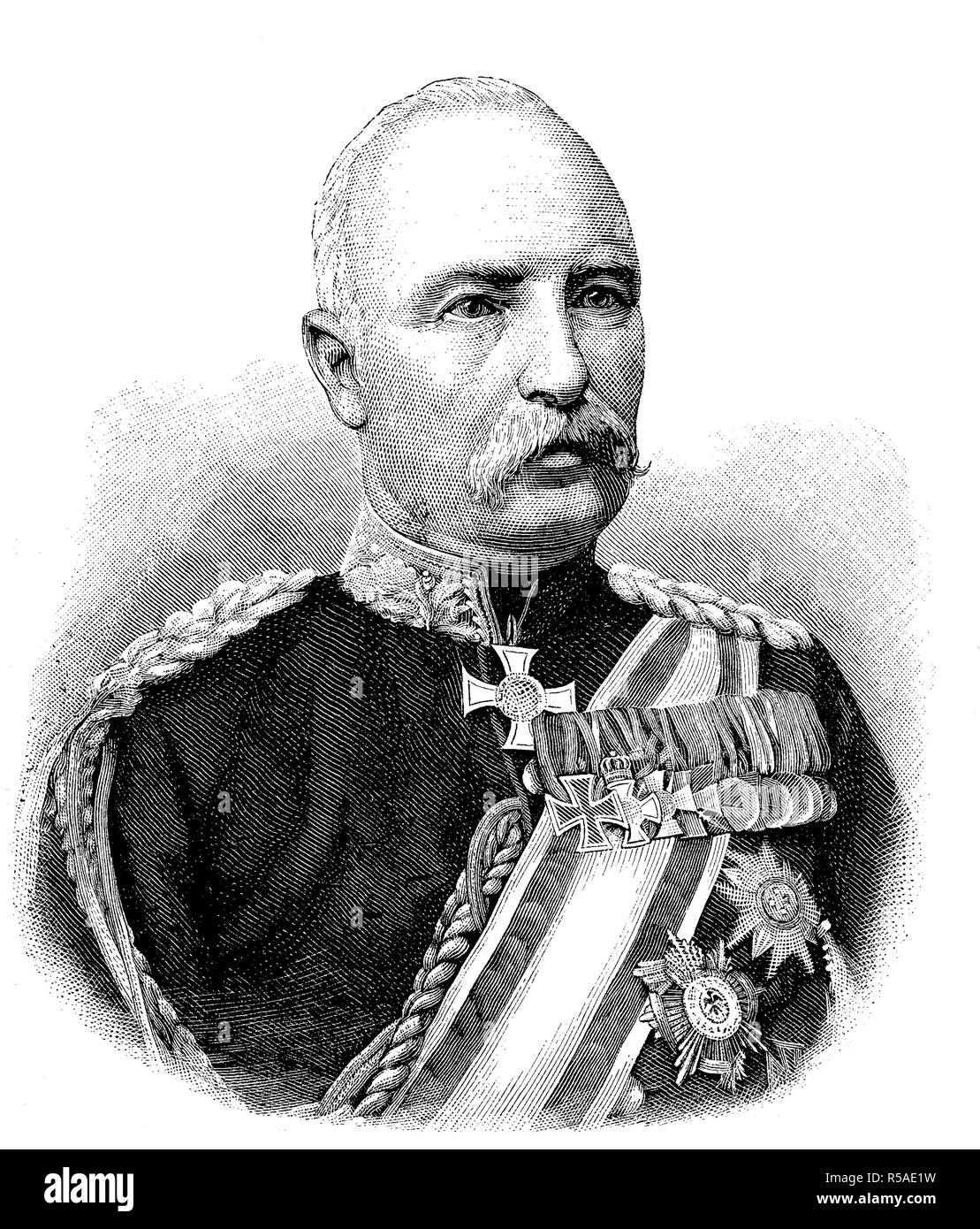 Barón Friedrich Karl Walter von Degenhard Loe, 1828-1908, era un soldado prusiano y aristócrata, Alemania, fue un comandante Foto de stock