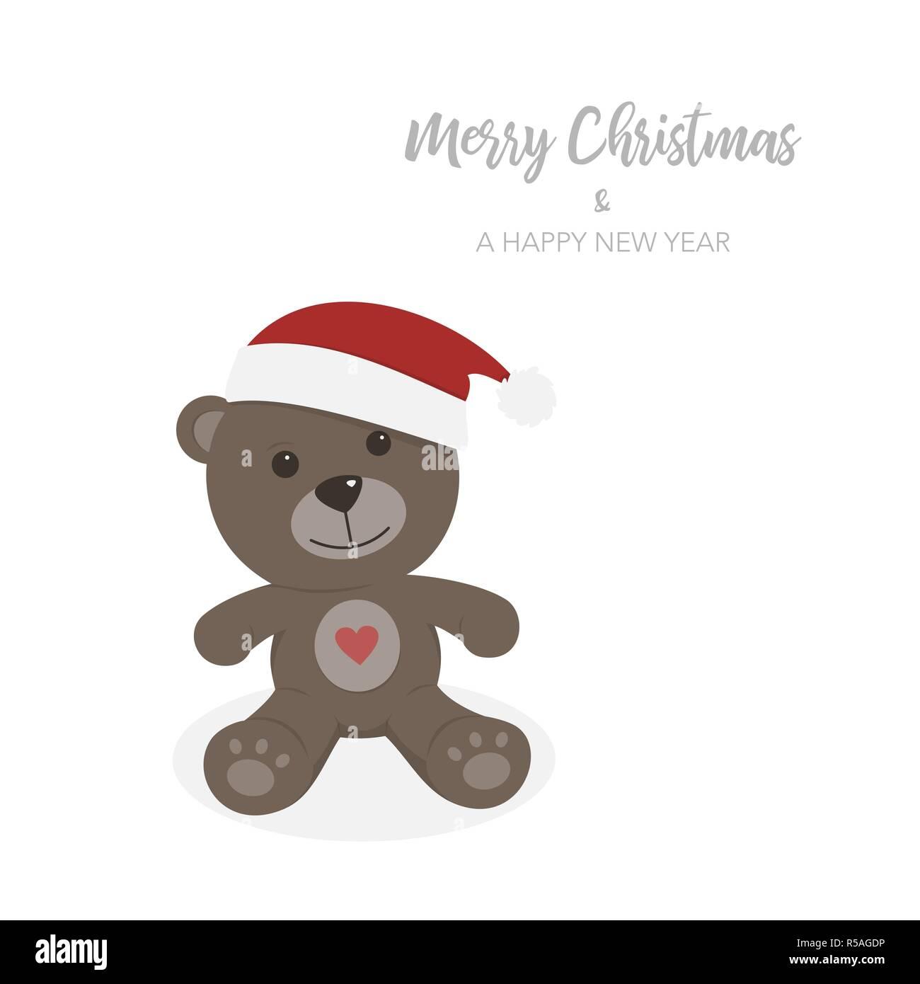 261871b18a Tarjeta de navidad con osito de peluche aislados. Ilustración vectorial  Imagen De Stock