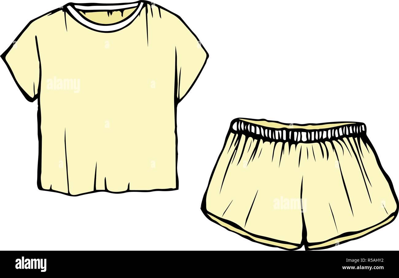 Las Mujeres De Moda Dormir Dibujo Pijama Pantalones Cortos Amarillos Y T Shirt Dormir Vectorial Ilustracion Aislada Imagen Vector De Stock Alamy