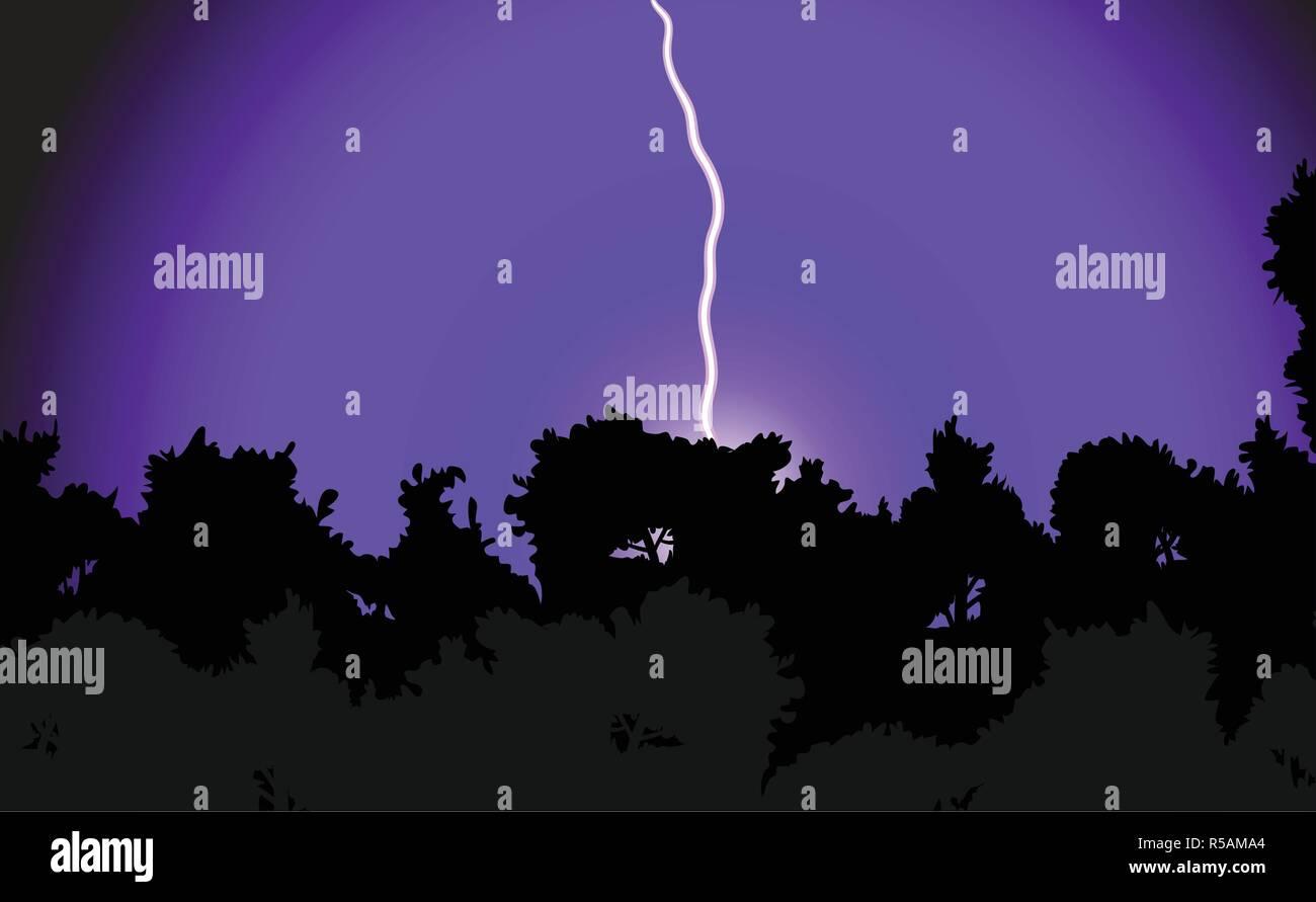 Ilustración vectorial de un relámpago golpea un bosque de noche en el cielo púrpura Ilustración del Vector