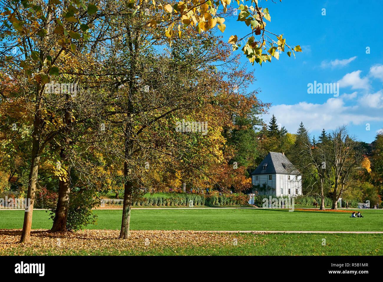 Goethe Garden House en el parque del ILM, Weimar, Turingia, Alemania Foto de stock