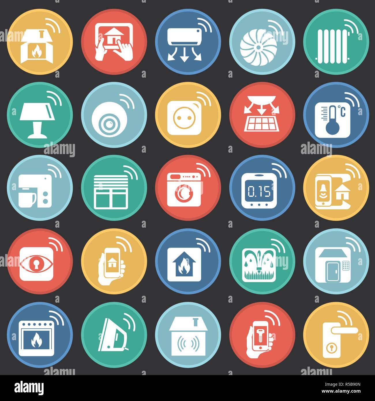 e362088c34b18 Casa inteligente en botones de color fondo negro para diseño gráfico y web  sencillo