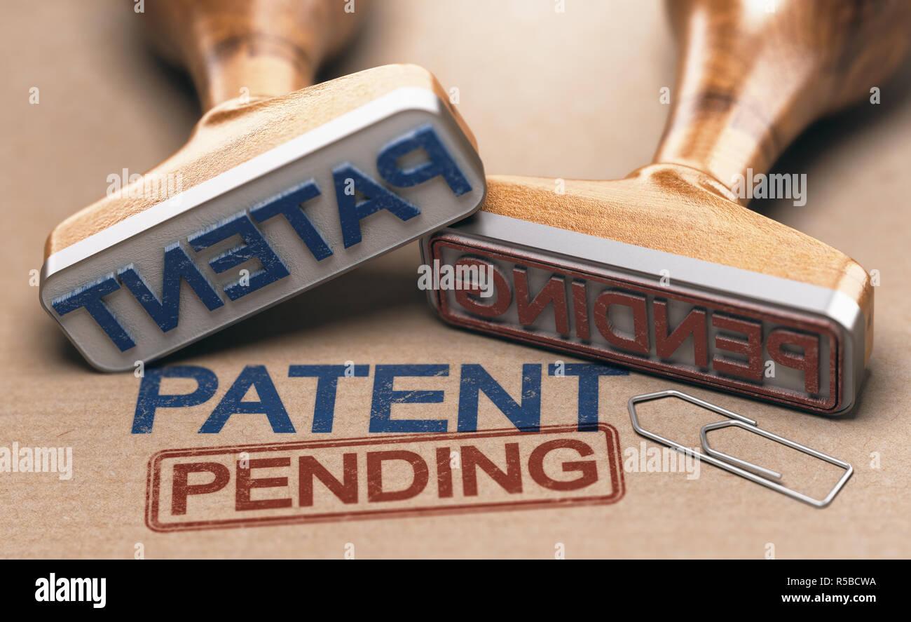 Dos sellos de goma con las palabras y patentes pendientes sobre papel marrón de fondo. Concepto de propiedad intelectual. Ilustración 3D. Foto de stock