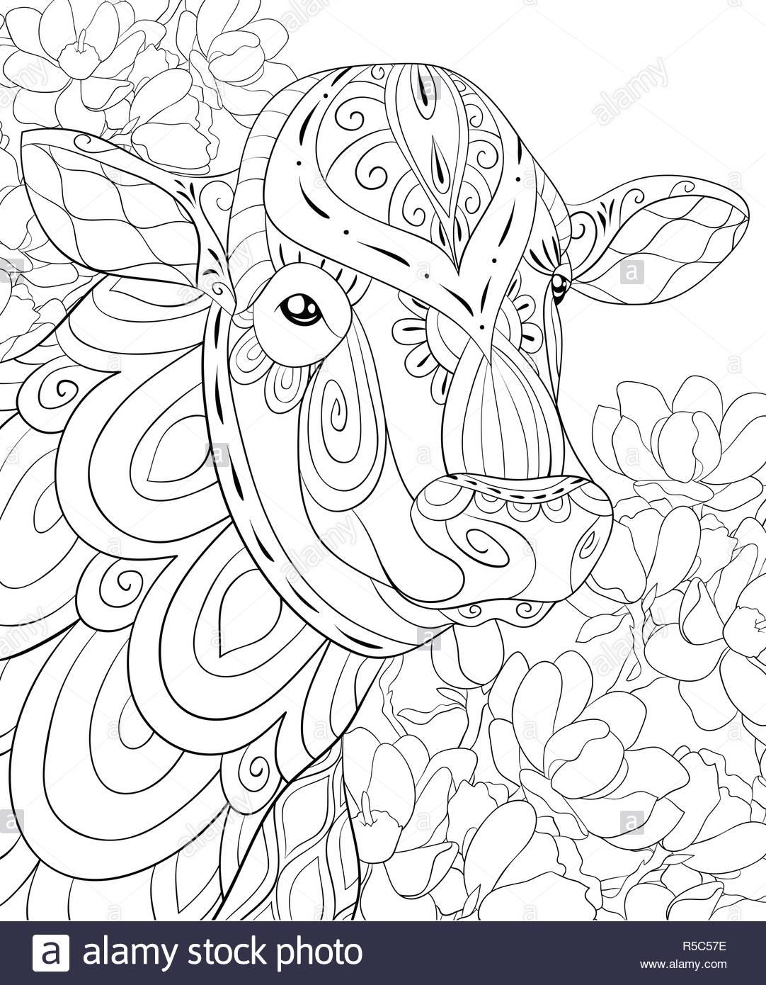 Una Linda Cabeza De Vaca Con Zen Ornamentos Florales La Imagen De La