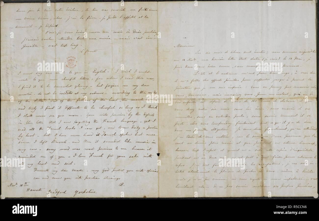 """Carta de Charlotte BrontÃ"""" al profesor Constantin Heger 18 de noviembre de 1844. Extracto de la carta: """"...realmente me resulta difícil estar alegre mientras creo que voy a verlo nunca más."""". Cuatro cartas de Charlotte BrontÃ"""" al profesor Constantin Heger [el original de Pablo Emanuel en 'Villette'] ; el 24 de julio de 1844 - 18 de noviembre [1845?]. Francés. Que del 18 de noviembre tiene un postscript en inglés. Se describe, publicado y traducido por Marion H. Spielmann en The Times, 29 de julio de 1913 (véase también las cuestiones de los días 30 y 31 de julio). Las letras, tres de las cuales habían sido destruidas, se conservan por separado entre el cristal Foto de stock"""