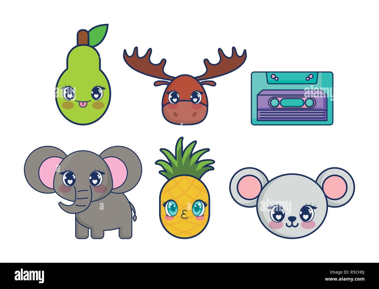 Dulces Y Adorables Personajes Juego Kawaii Diseno Ilustracion