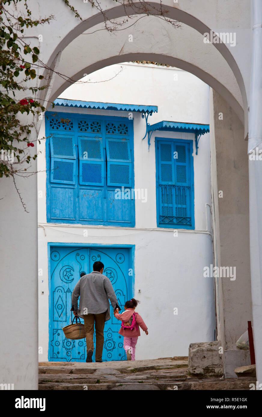 Túnez y Sidi Bou Said, edificio detalle Imagen De Stock