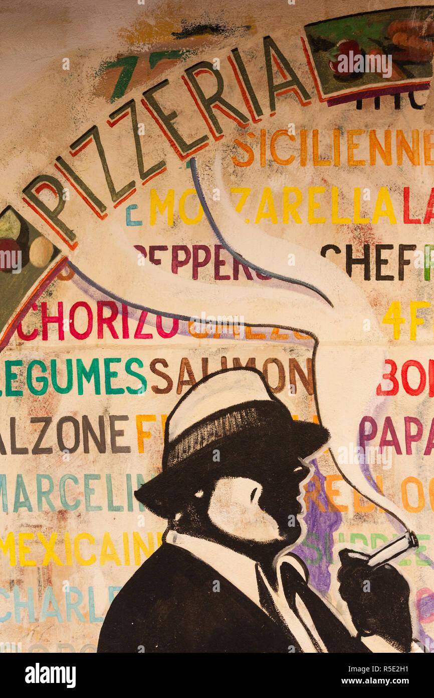 Francia, Córcega, Corse-du-Sud departamento, región de la costa oeste de Córcega, Ajaccio, pizzería mural Foto de stock