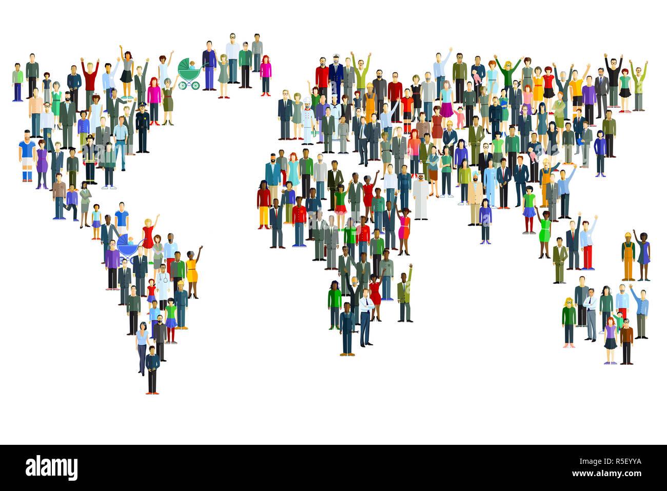 La población mundial internacional Foto de stock