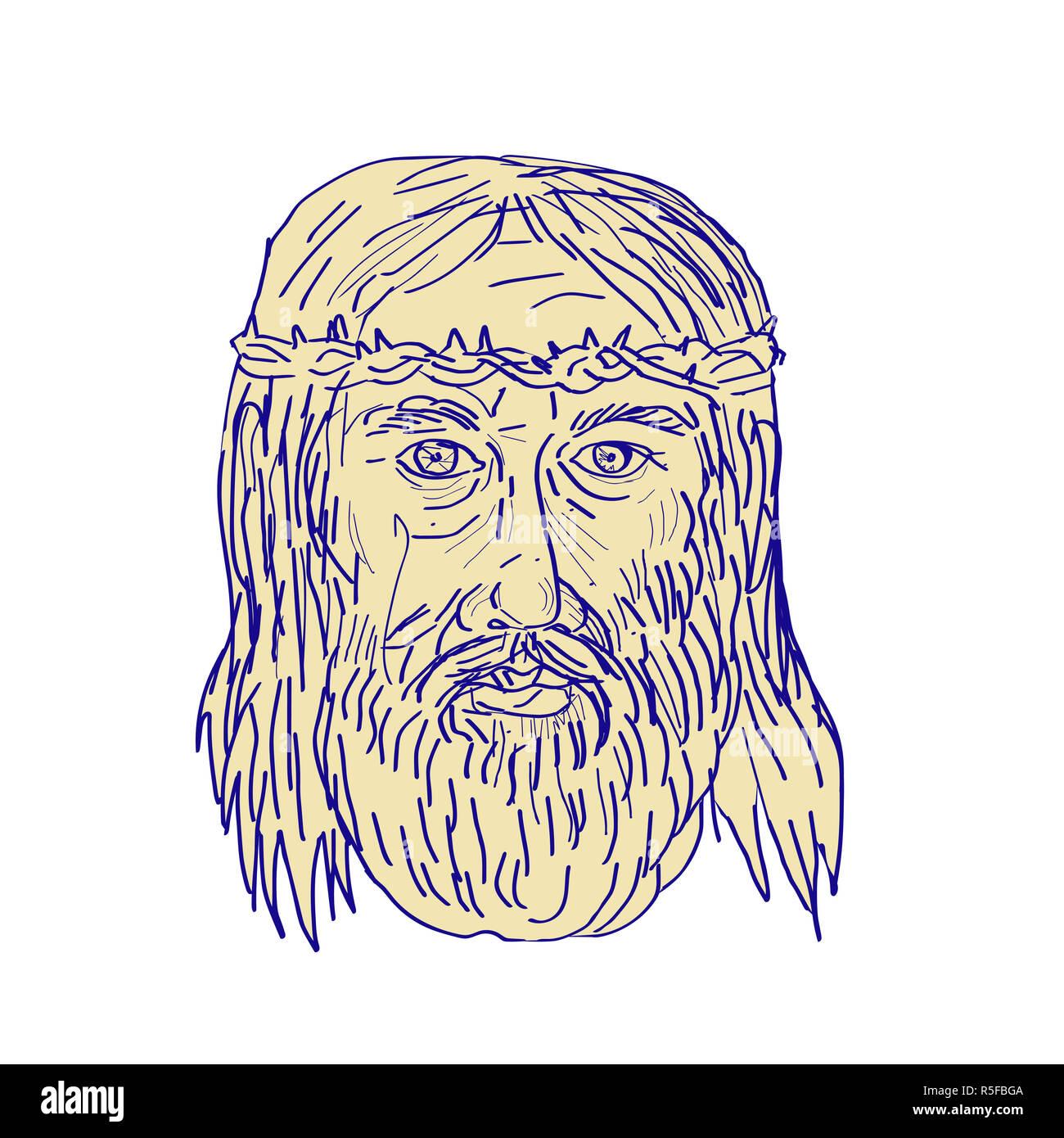 El Rostro De Jesús Corona De Espinas Dibujo Foto Imagen De Stock