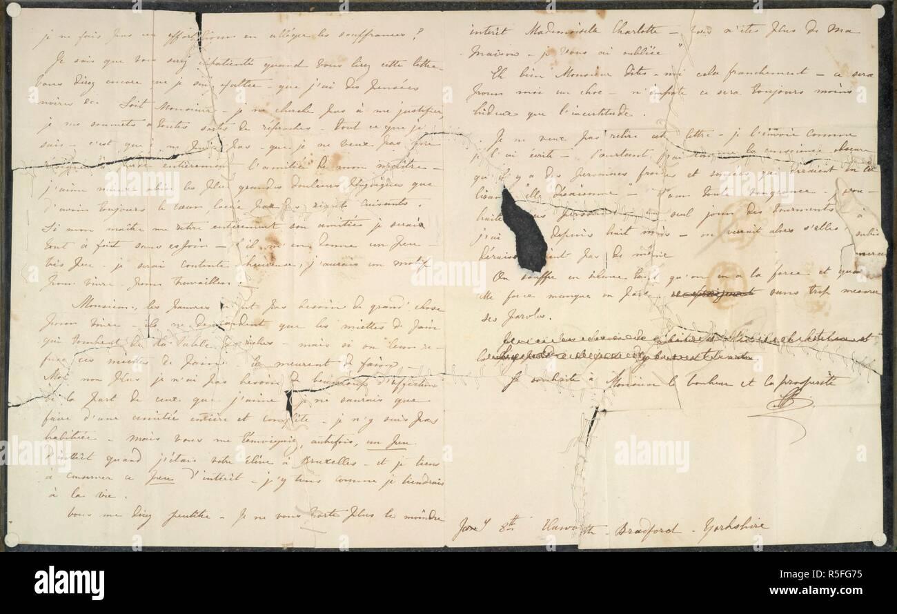 """Cuatro cartas de Charlotte BrontÃ"""" al profesor Constantin Heger. Cuatro cartas de Charlotte BrontÃ"""" al profesor Constantin Heger [el original de Pablo Emanuel en 'Villette'] ; el 24 de julio de 1844 - 18 de noviembre [1845?]. Francés. Que del 18 de noviembre tiene un postscript en inglés. Se describe, publicado y traducido por Marion H. Spielmann en The Times, 29 de julio de 1913 (véase también las cuestiones de los días 30 y 31 de julio). Las letras, tres de las cuales habían sido destruidas, se conservan por separado entre placas de vidrio. Haworth, Yorkshire, 24 Jul 1844-18 [Nov 1845?]. De las cuatro cartas restantes, tres fueron destruidas. El primero ha sido reparado Foto de stock"""