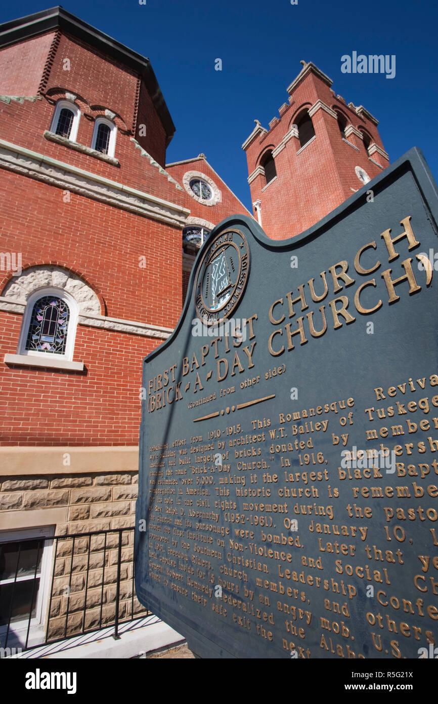 Estados Unidos, Alabama, Montgomery, Primera Iglesia Bautista Foto de stock