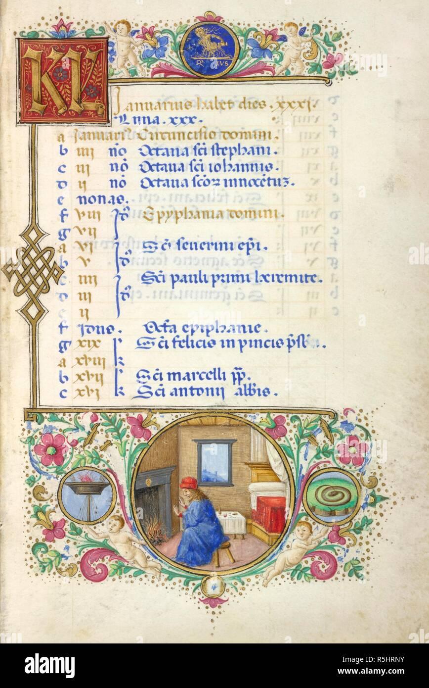 Calendario Zodiacal.Pagina De Calendario Para Enero Con Un Medallon Del Signo Zodiacal