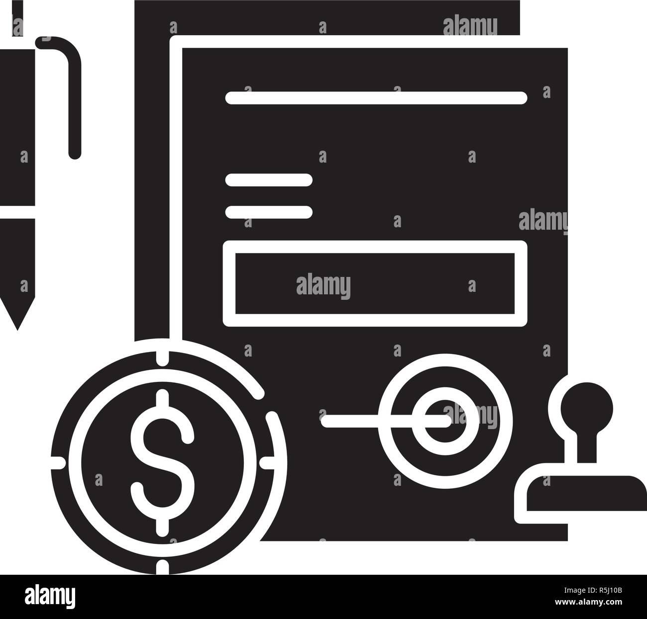 Compromiso empresarial icono negro, signo de vectores de fondo aislados. Compromiso empresarial concepto símbolo, ilustración Imagen De Stock