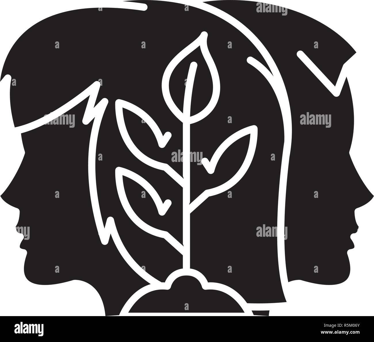 Sinergia icono negro, signo de vectores de fondo aislados. Concepto de sinergia, símbolo de la ilustración Imagen De Stock