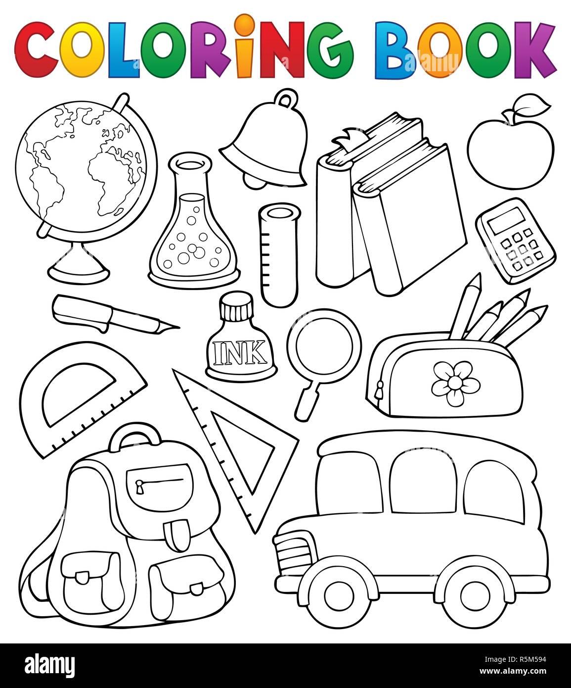 Libro Para Colorear De Objetos Relacionados Con La Escuela 1 Foto
