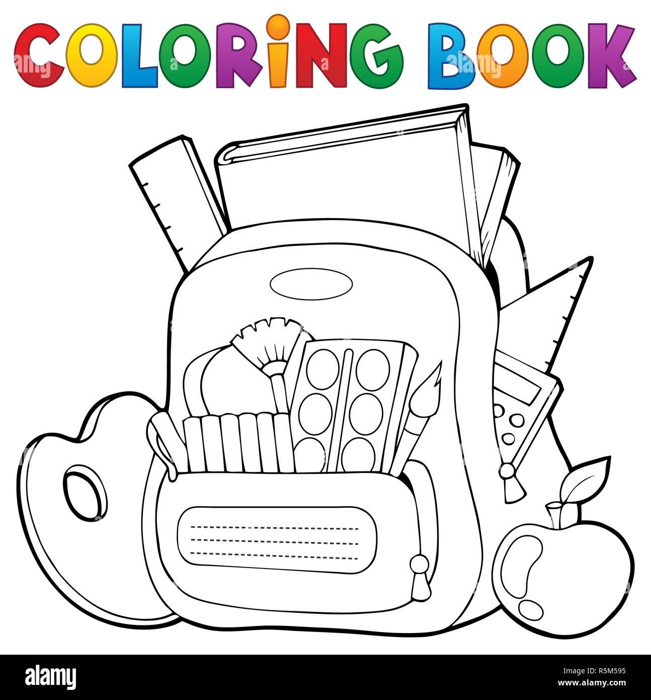 Libro Para Colorear De Tema 1 Mochilas Escolares Foto Imagen De