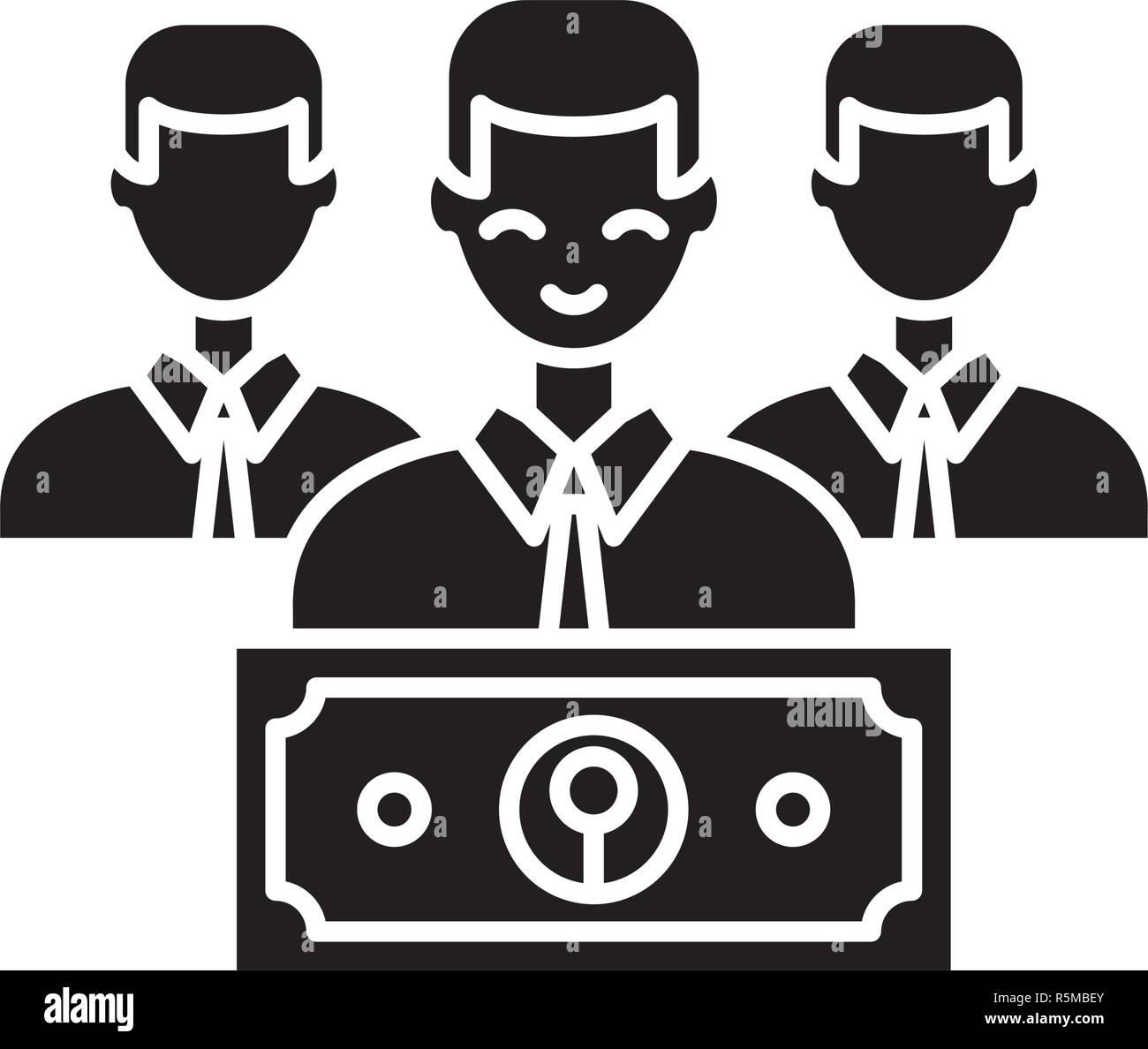 Icono negro de salario, vector signo en antecedentes aislados. Concepto de salario, símbolo de la ilustración Ilustración del Vector