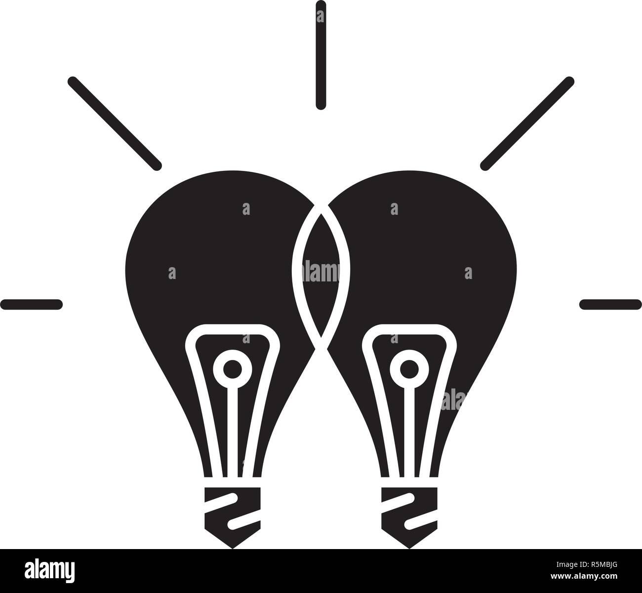 Sinergia creativa icono negro, signo de vectores de fondo aislados. Concepto de sinergia creativa, símbolo de la ilustración Imagen De Stock