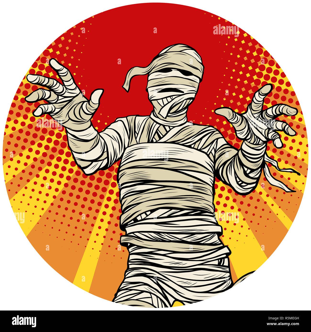 d662fea25 Momia Egipcia caminando arte pop avatar icono de carácter Imagen De Stock