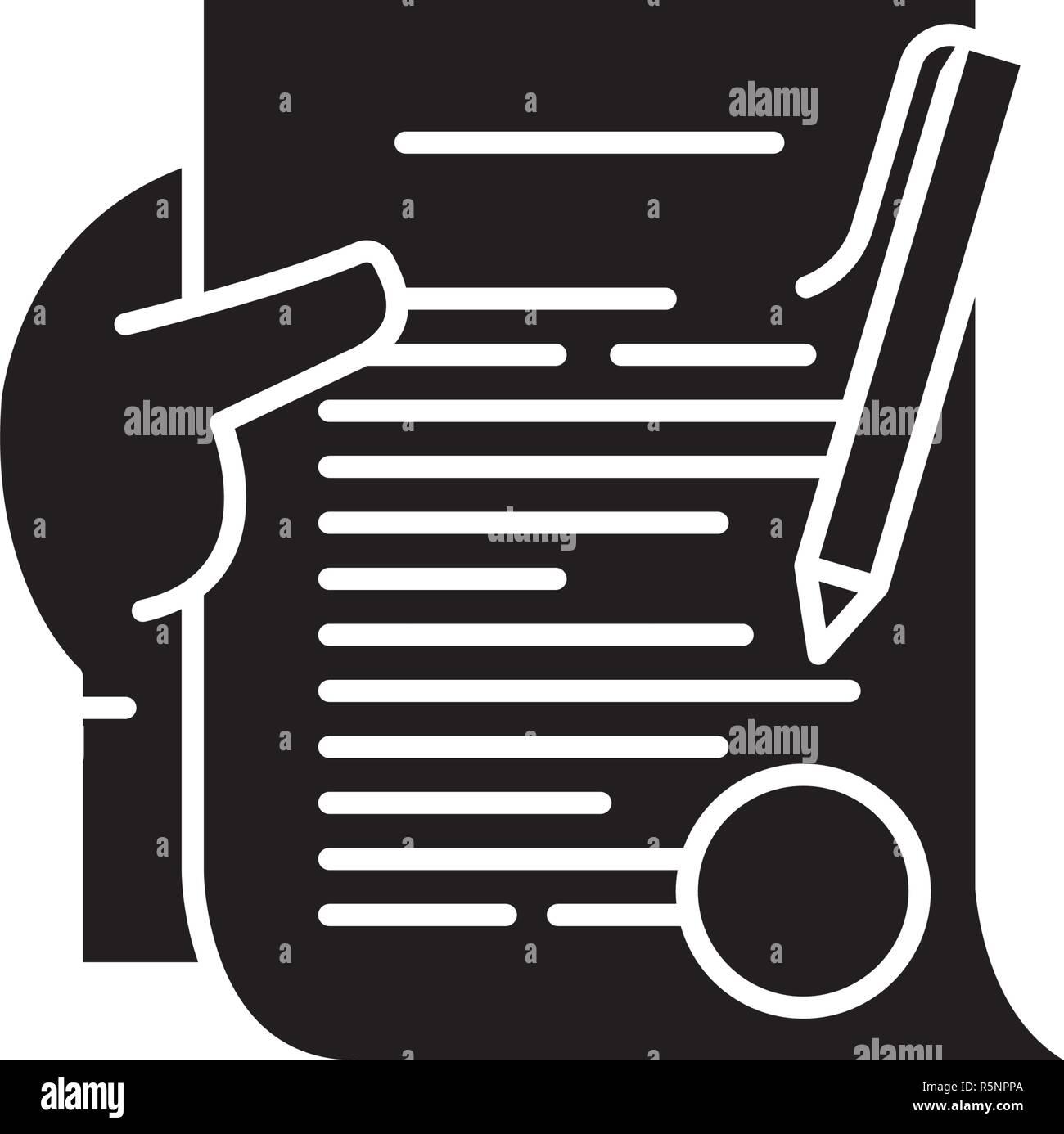 Compromiso icono negro, signo de vectores de fondo aislados. Concepto de compromiso símbolo, ilustración Imagen De Stock