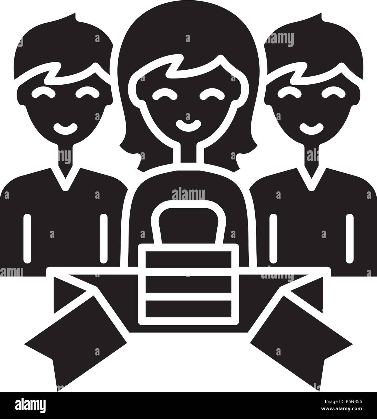Composición icono negro, signo de vectores de fondo aislados. Concepto de pertenencia, símbolo de la ilustración Imagen De Stock