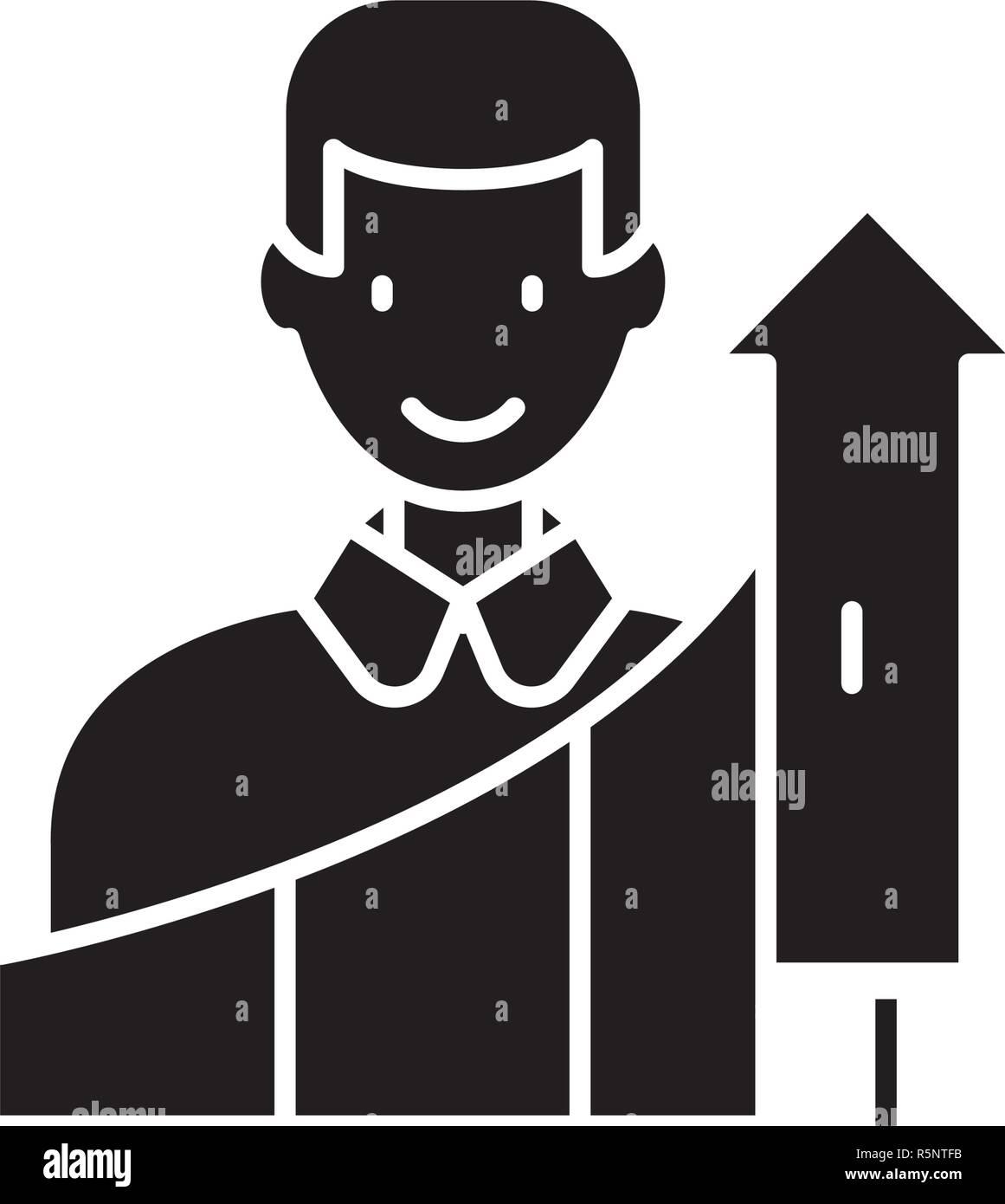 Crecimiento Personal icono negro, signo de vectores de fondo aislados. Concepto de crecimiento personal, símbolo de la ilustración Imagen De Stock