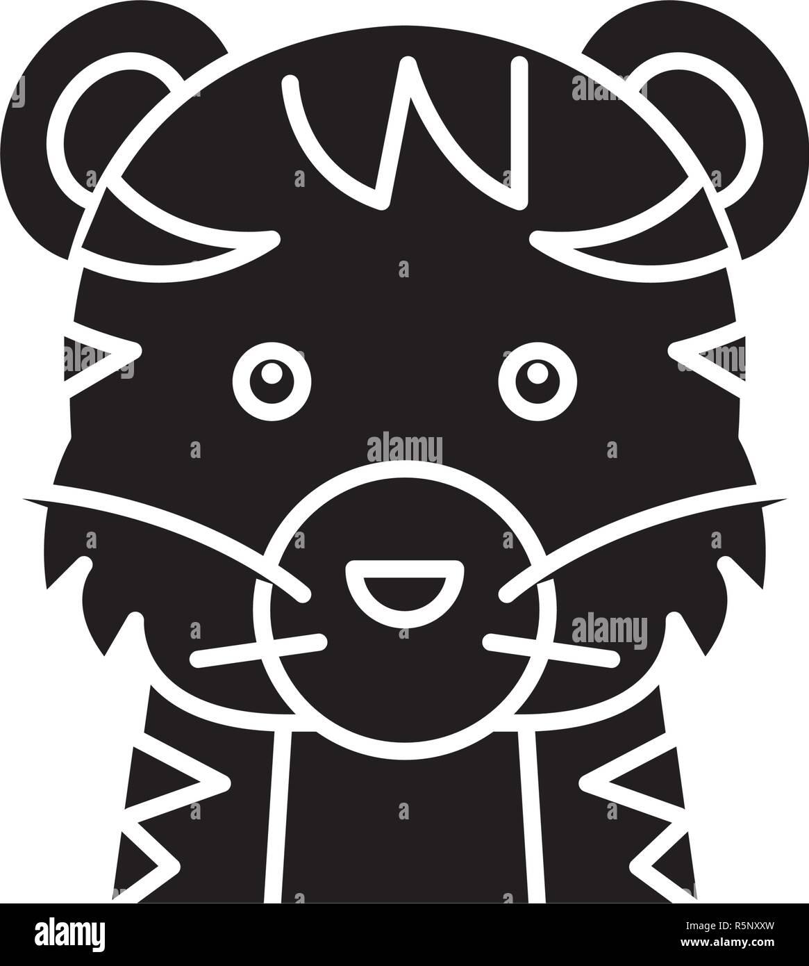 Gracioso tiger icono negro, signo de vectores de fondo aislados. Divertido concepto de tigre, símbolo de la ilustración Ilustración del Vector