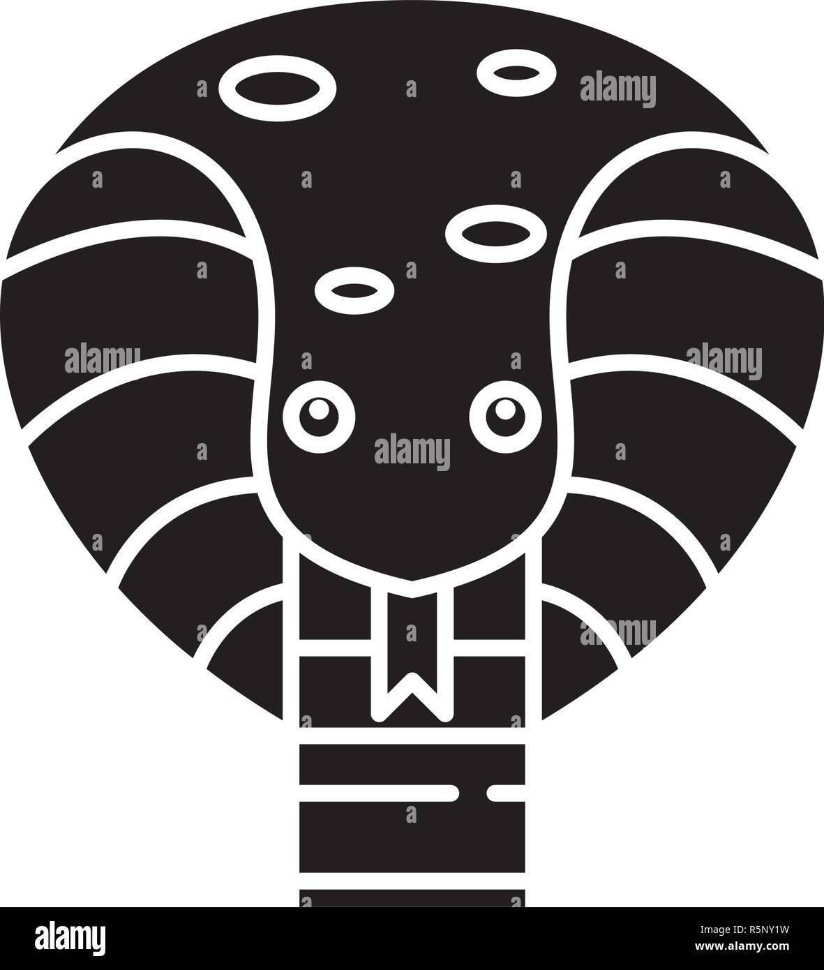 Cute Snake icono negro, signo de vectores de fondo aislados. Lindo concepto de serpiente, símbolo de la ilustración Imagen De Stock