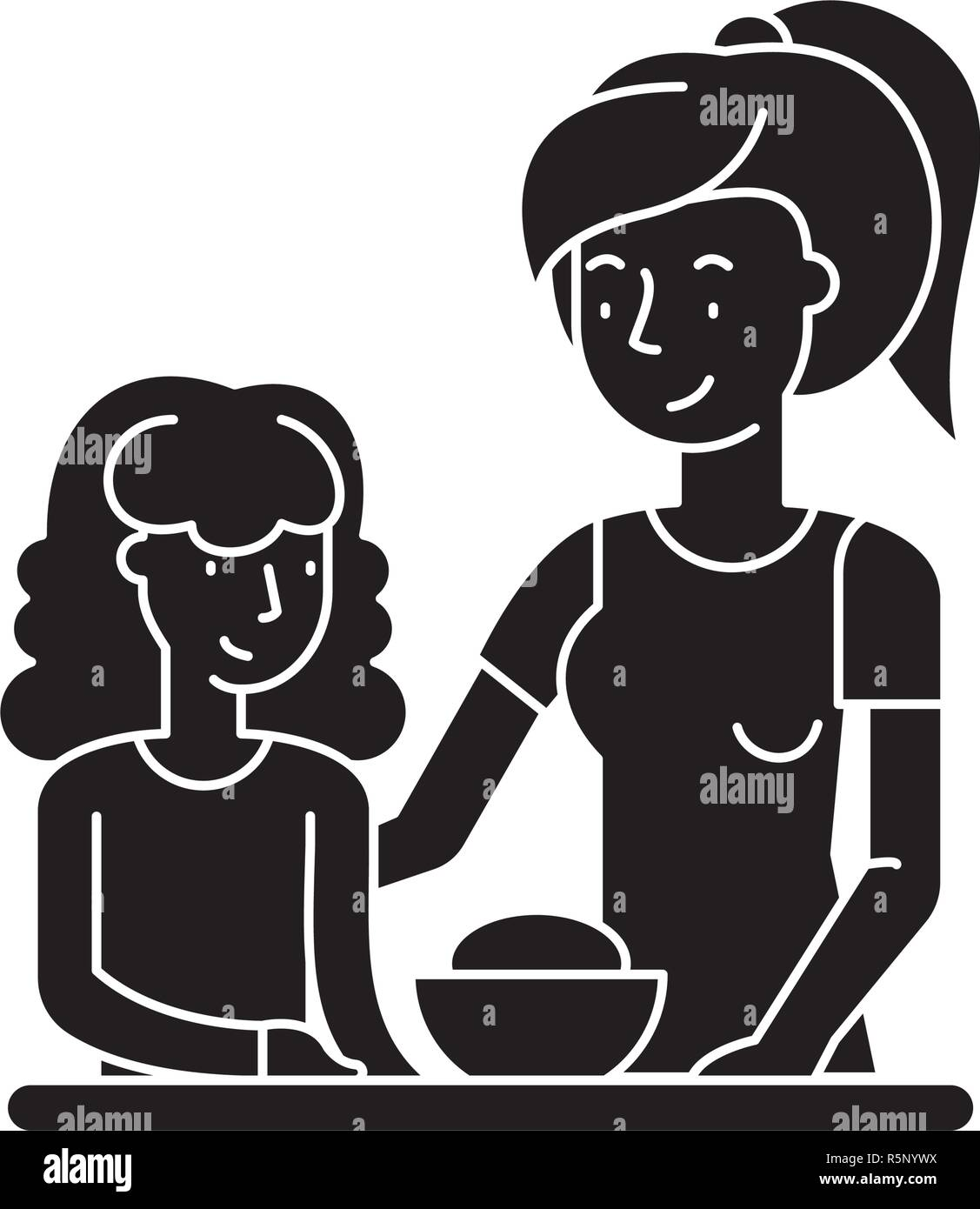 Madre E Hija Icono Negro Signo De Vectores De Fondo Aislados Madre