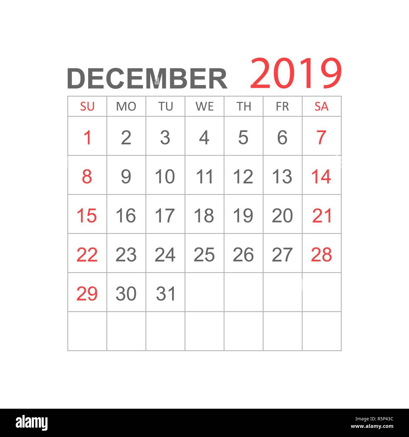 Calendario Diciembre.Calendario Diciembre 2019 Ano En Estilo Sencillo