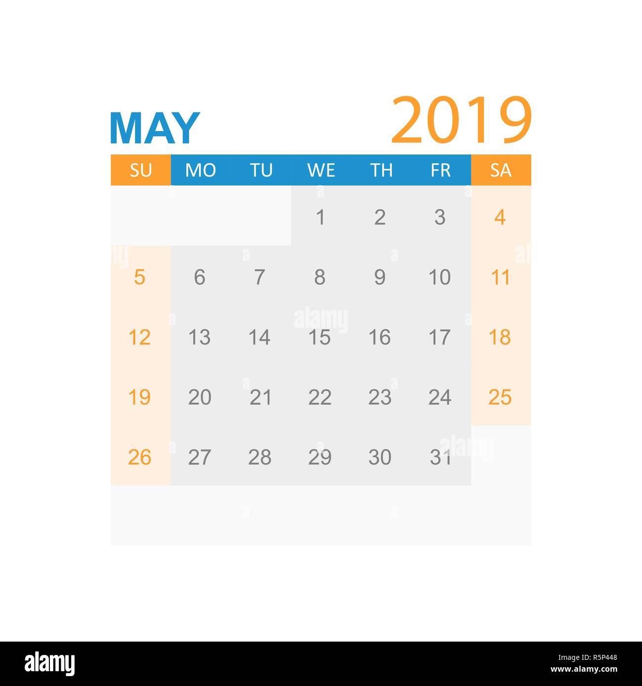 Calendario Mayo2019.Calendario Mayo 2019 Ano En Estilo Sencillo Planificador De