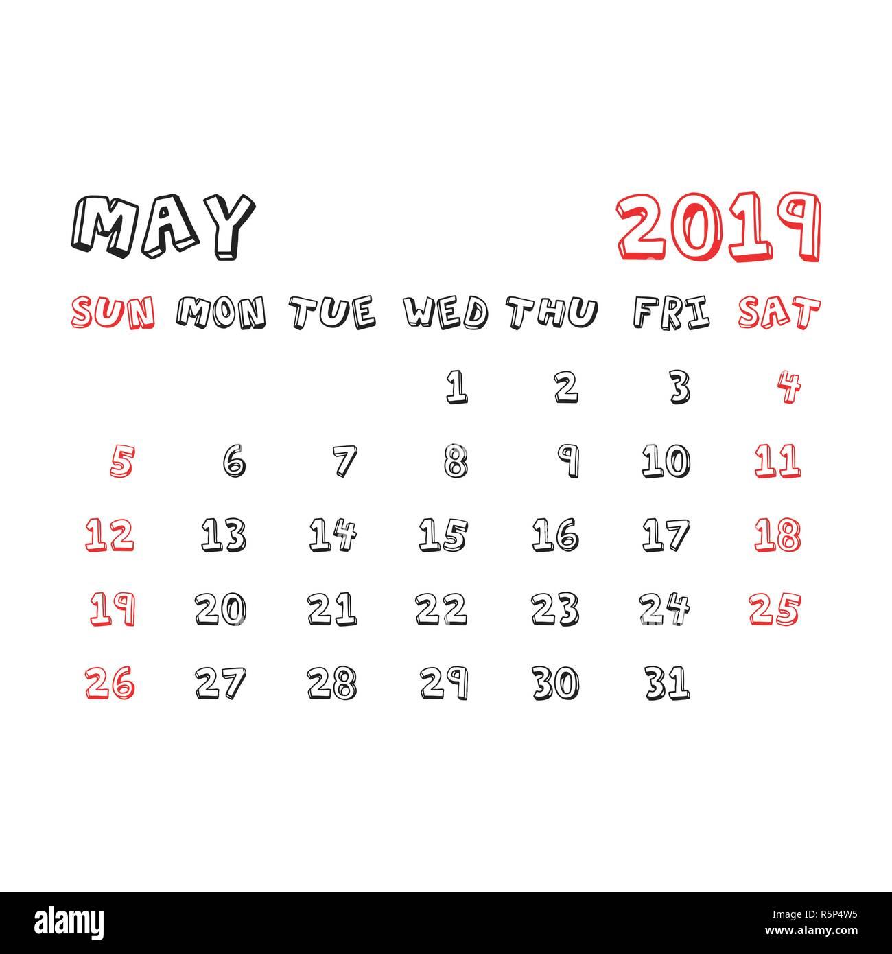 Calendario Dibujo 2019.Calendario Mayo 2019 Ano En Estilo Infantil De Dibujos