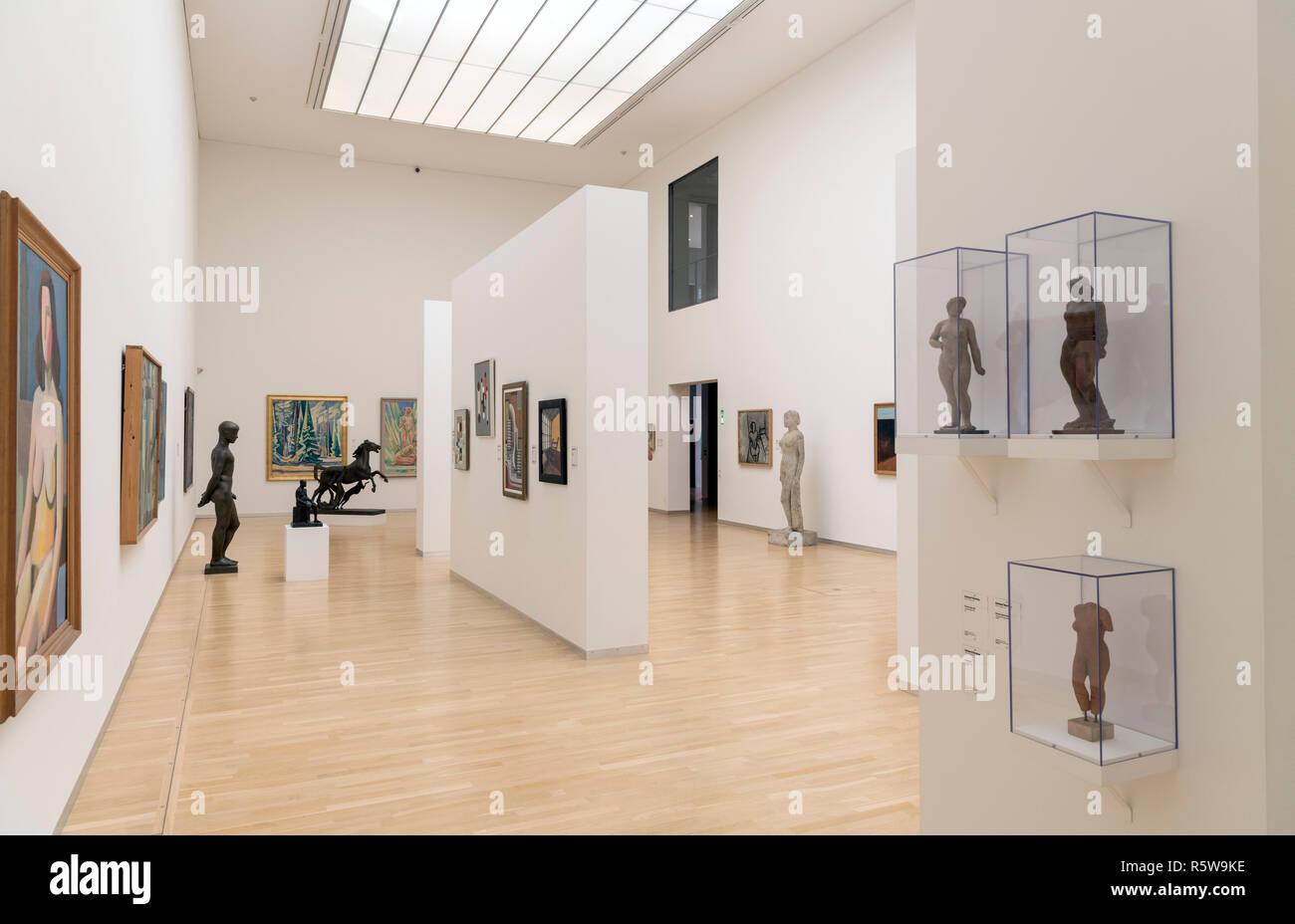 Interior de la Galería Nacional de Dinamarca (Statens Museum for Kunst), Copenhague, Dinamarca Foto de stock