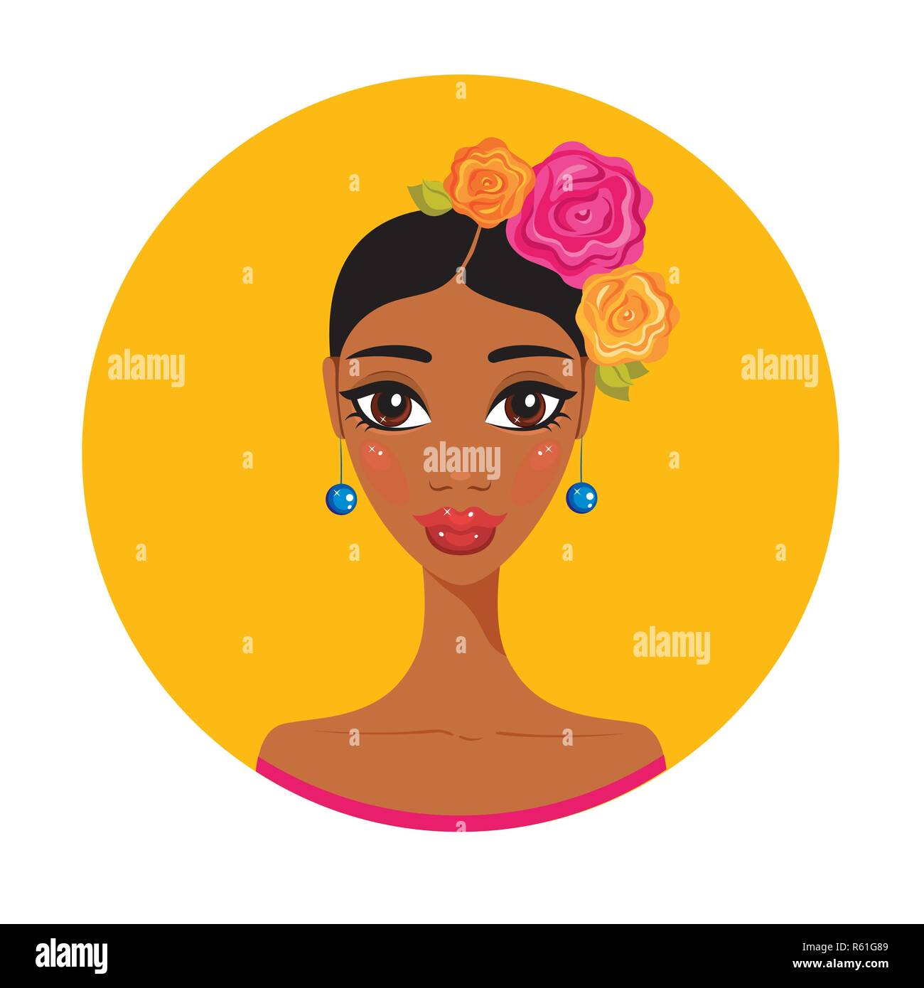 256124fe33 Hermosa joven mexicano colorido retrato de chica hispana ilustración  vectorial Imagen De Stock