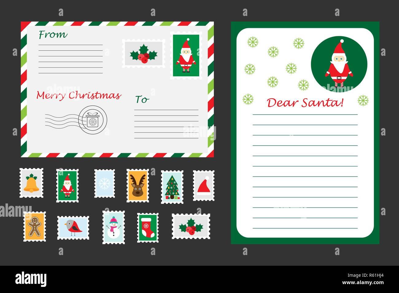 Juego De Navidad Carta A Santa Claus Sobres Y Sellos Para Los Ninos
