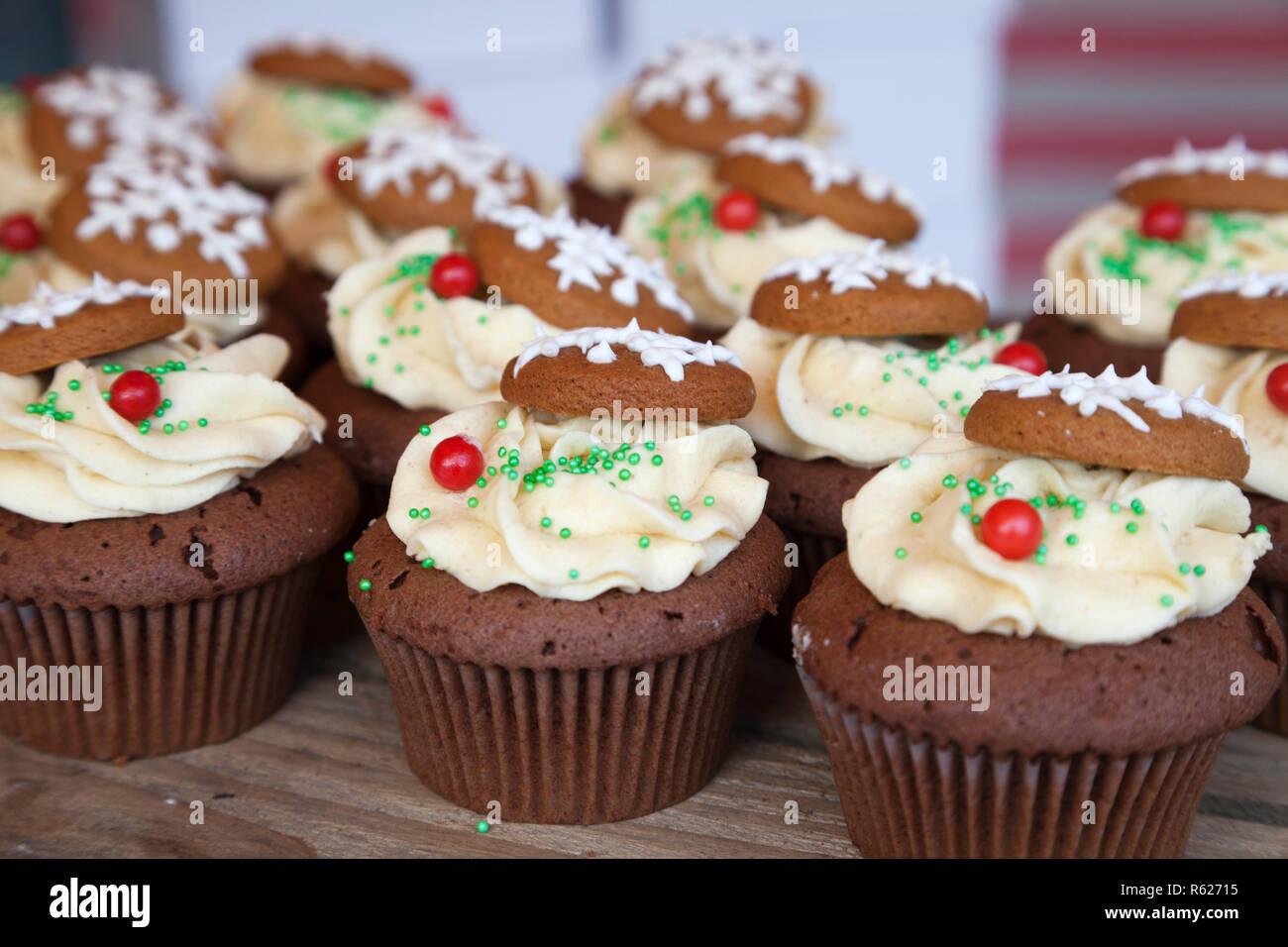 Cup Cakes Decorados Con Lloviznas Copos De Nieve Y Hielo