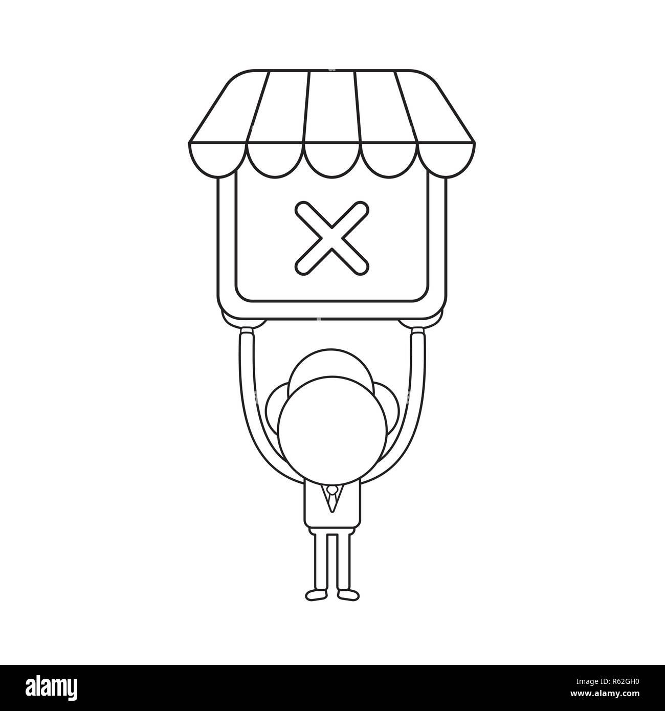 868f2bd925 Ilustración vectorial concepto de carácter empresario sosteniendo tienda  con marca x. Contorno negro. Imagen
