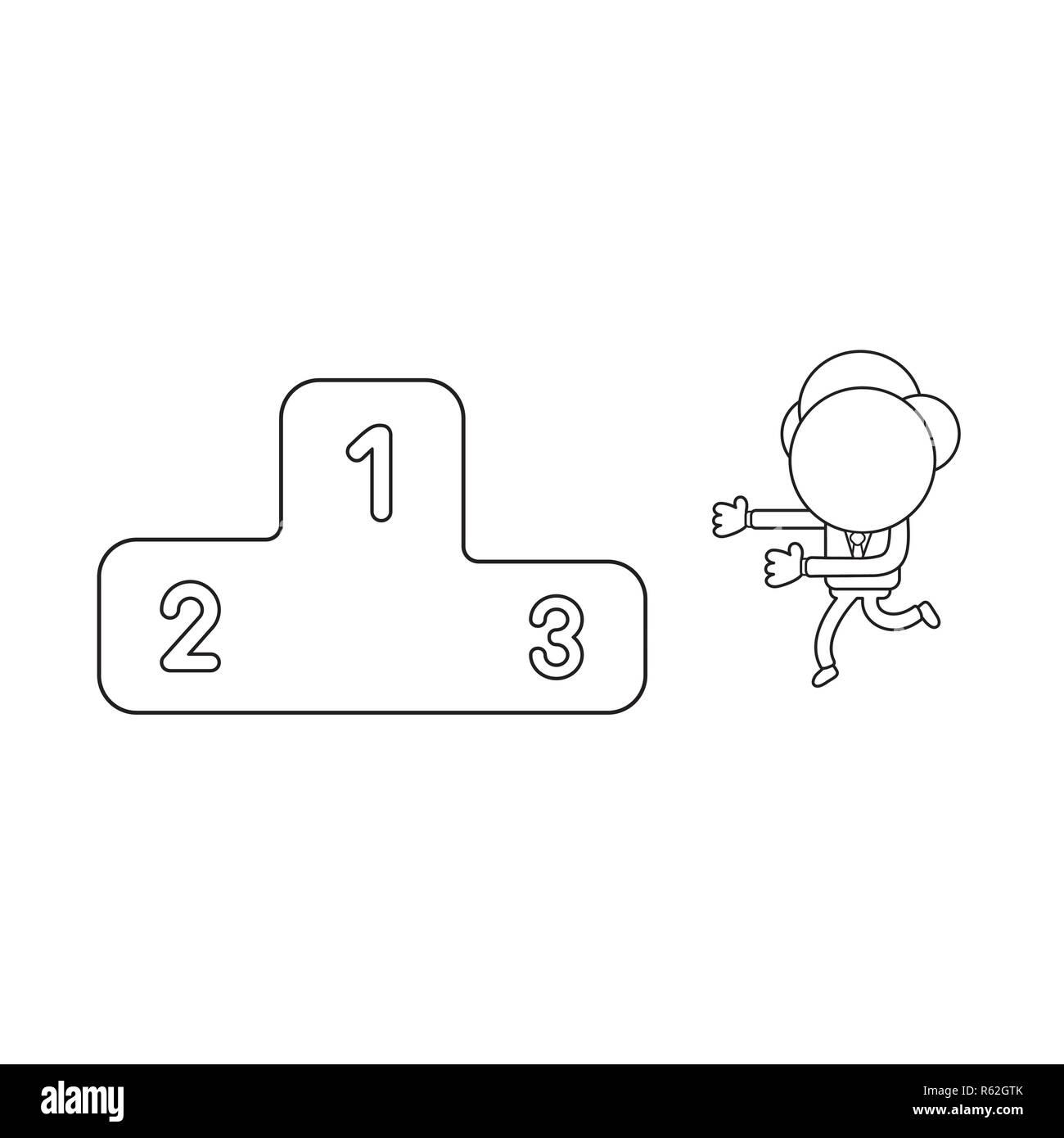 96969b133d Ilustración vectorial concepto de empresario personaje ejecutando al podio  de los ganadores. Contorno negro.