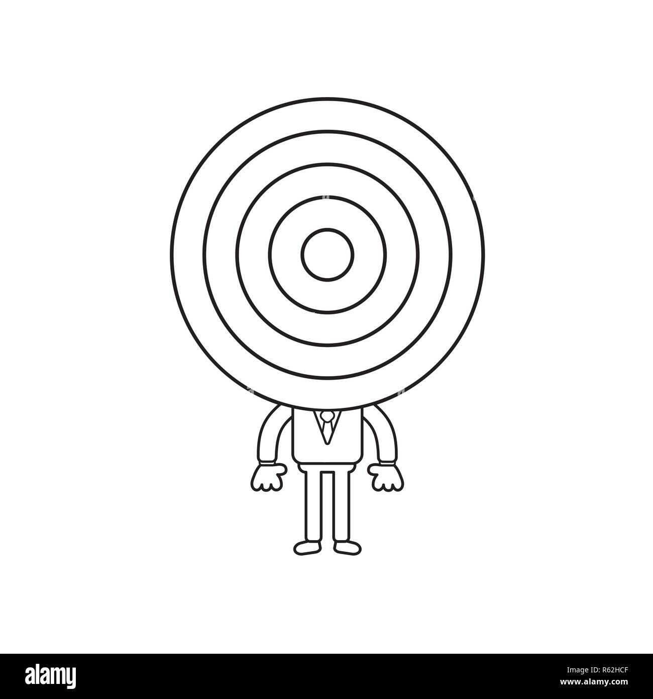 c40bc595f0 Ilustración vectorial concepto de empresario personaje con cabeza de diana. Contorno  negro. Imagen De