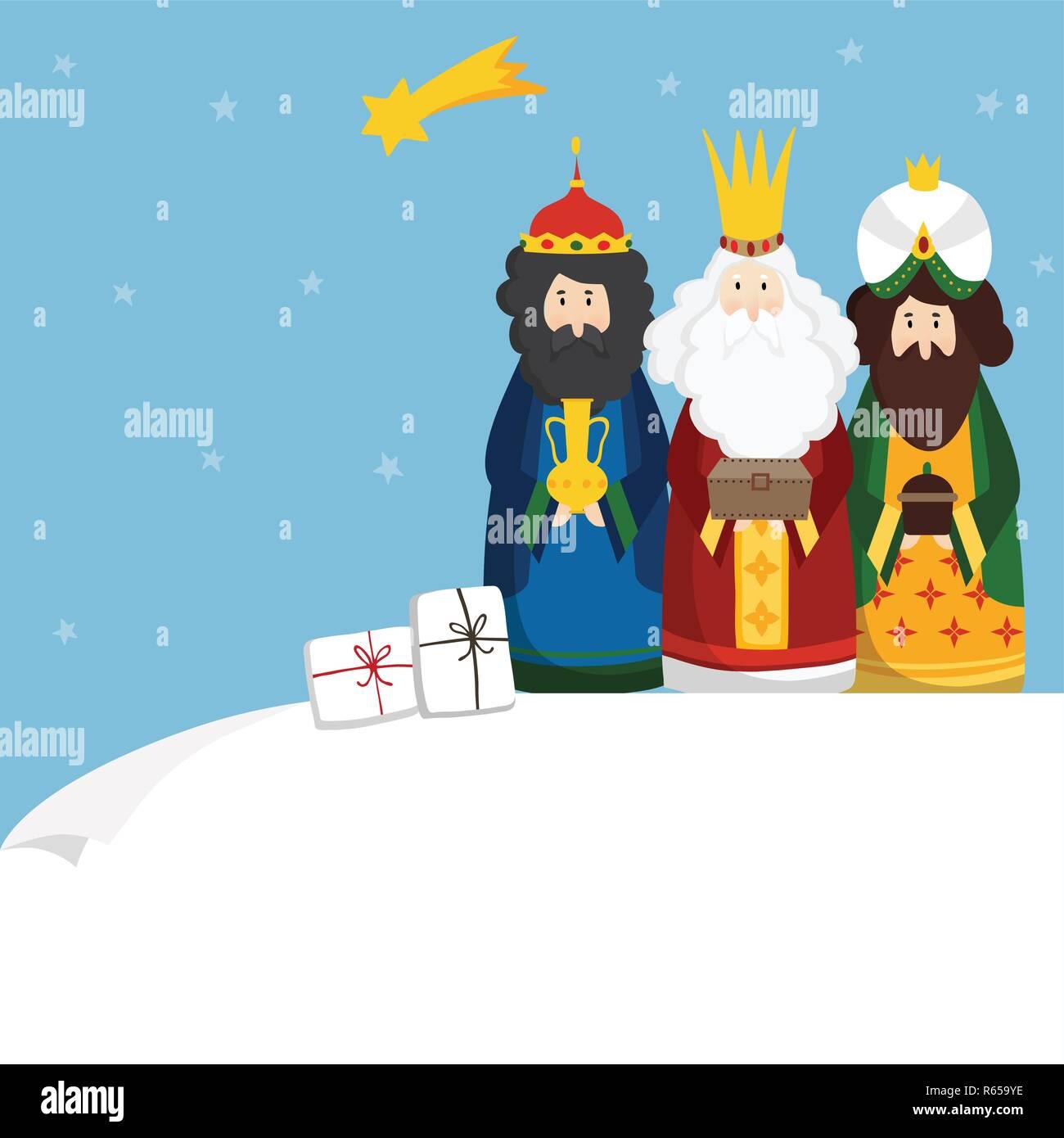 Felicitaciones De Navidad Con Los Reyes Magos.Tarjeta De Felicitacion De Navidad La Invitacion Tres