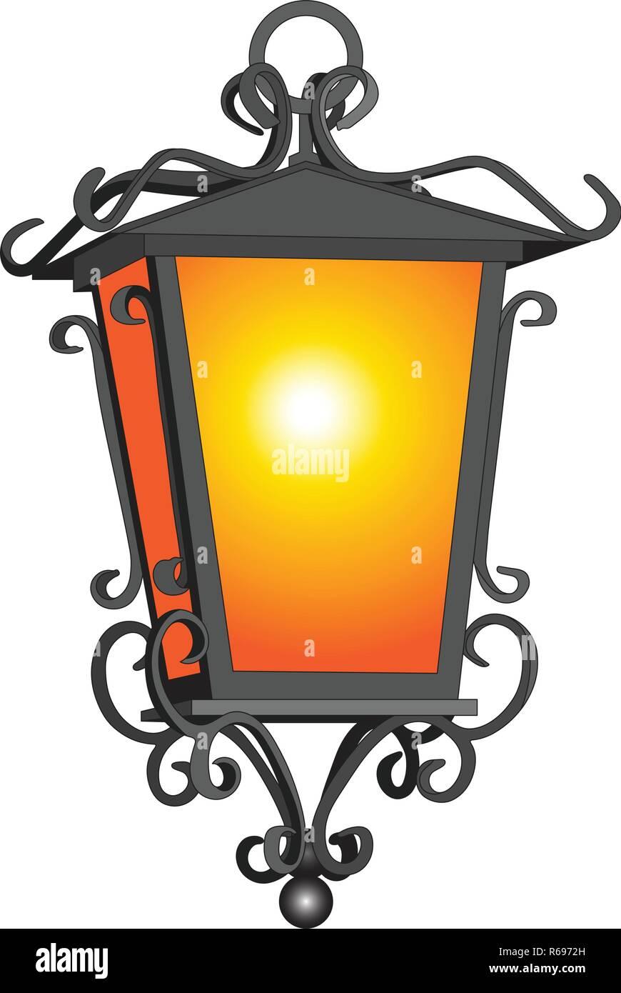Rústica Oold linterna detallada sobre blanco ilustración vectorial Imagen De Stock