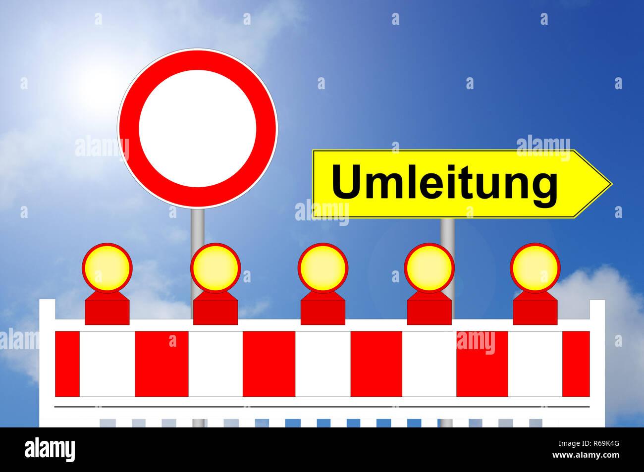 Área de construcción forma prohibida barrera con signo de forma alternativa Foto de stock