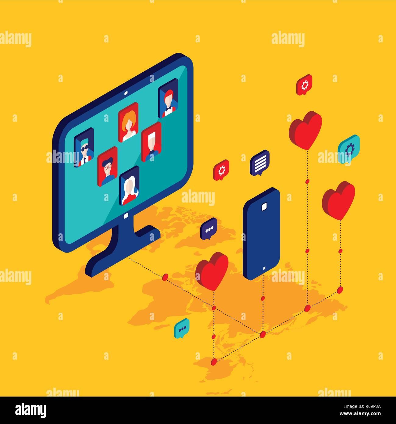La red social y el concepto de tecnología moderna ilustración vectorial diseño isométrico Plano Ilustración del Vector