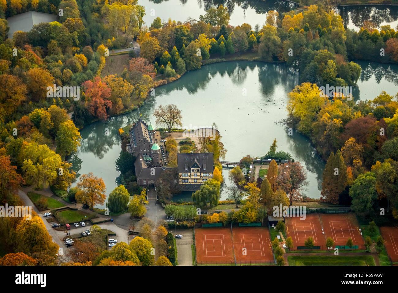 Vista aérea, Club de Tenis Club de Tenis Haus Wittringen, castillo moated Wittringen, Gladbeck, área de Ruhr, Renania del Norte-Westfalia Foto de stock