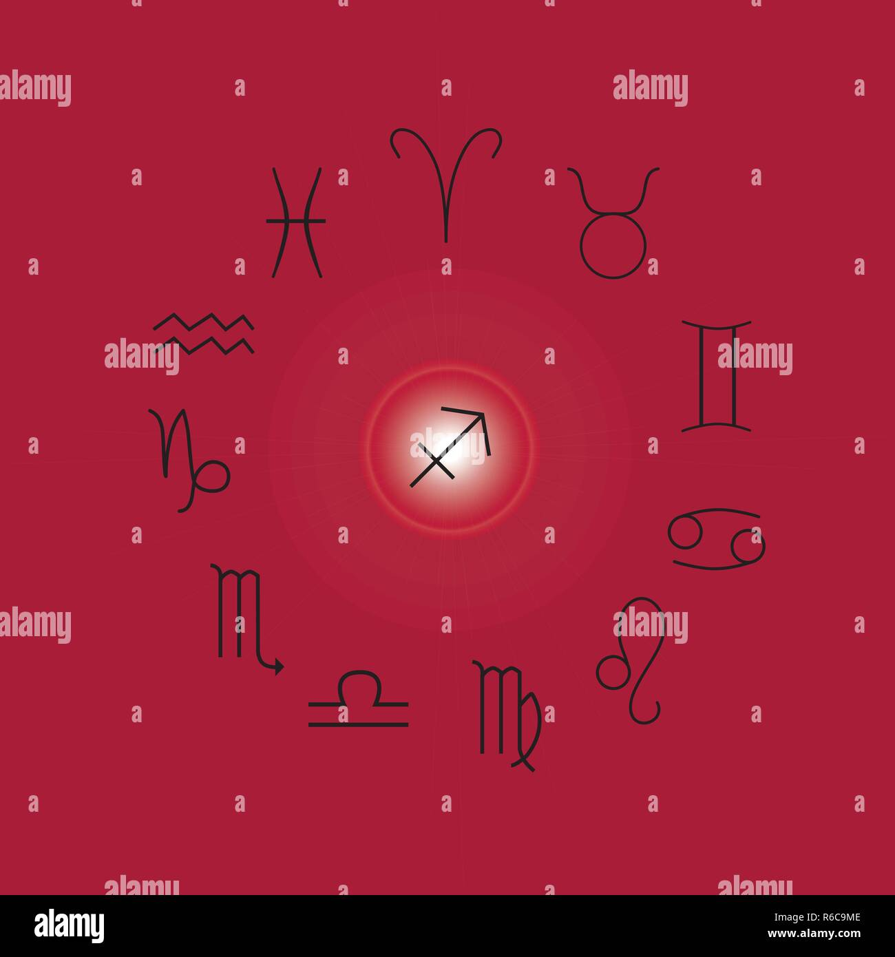 Signos Astrológicos, símbolos del zodíaco, Horóscopo, astrología y signos místicos ilustración vectorial sobre un fondo de color magenta Ilustración del Vector