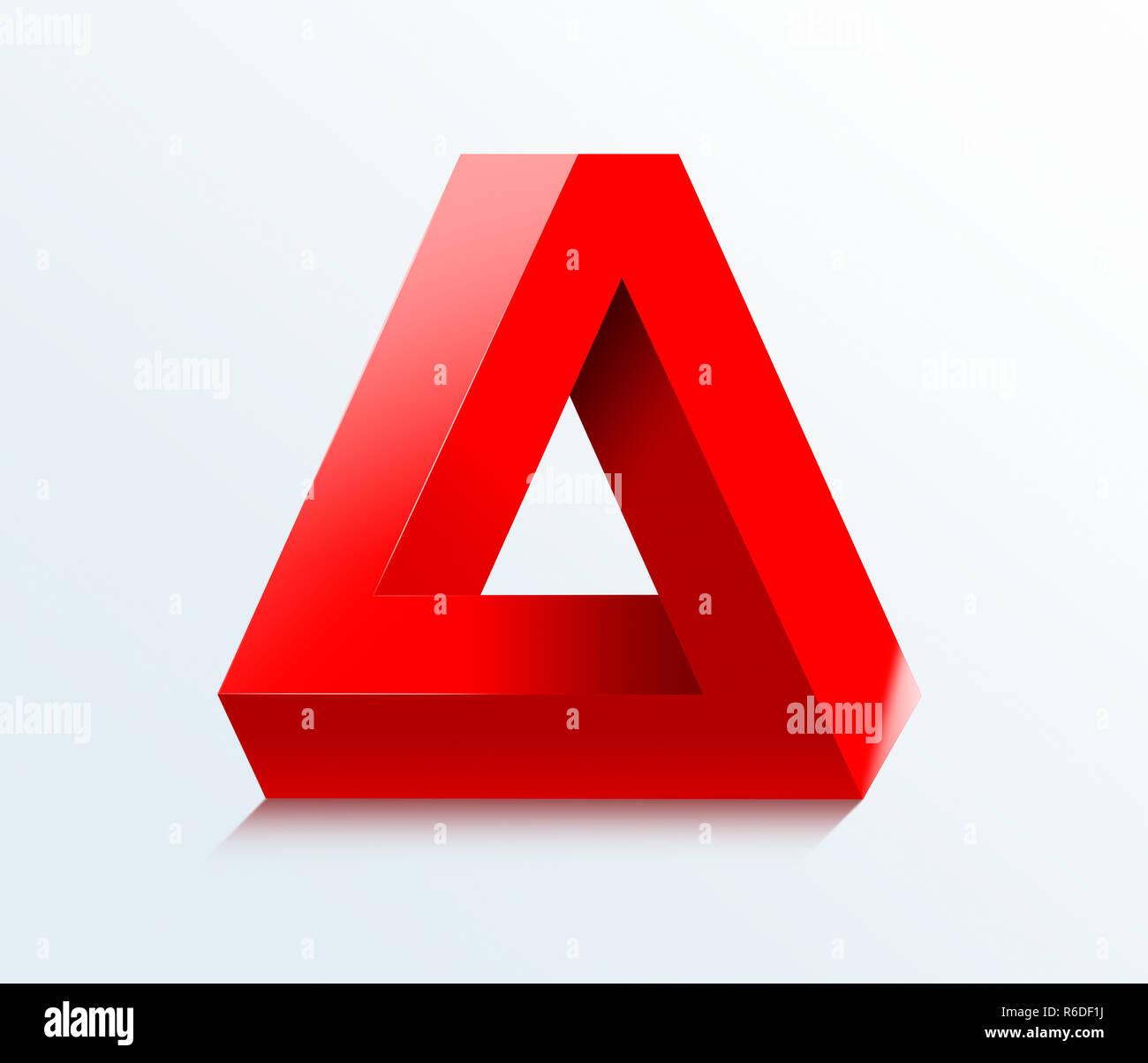 Imagen Digital de estilo Escher ilusión óptica imposible triangular rojo sobre un fondo blanco. Imagen De Stock