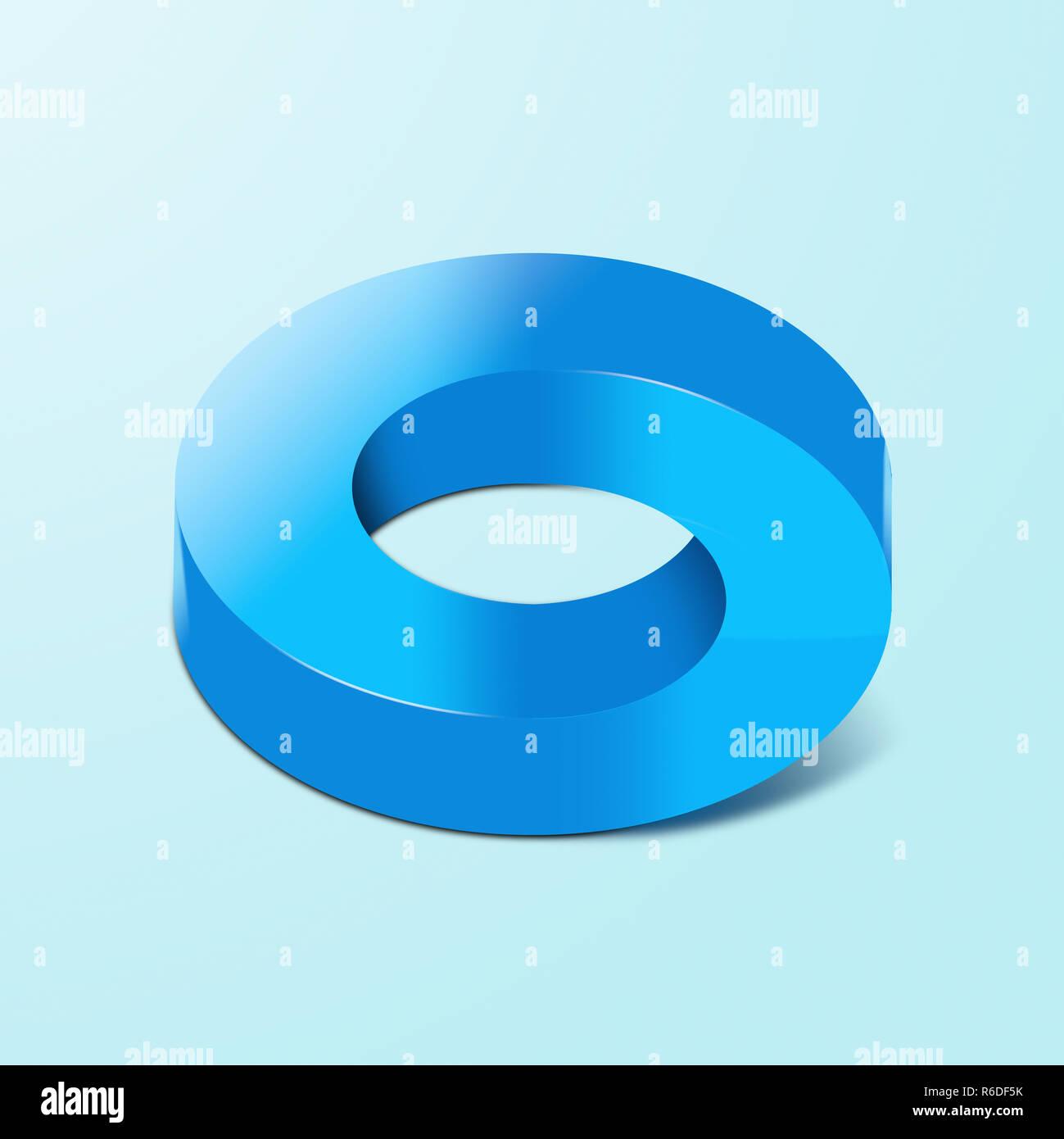 Imagen digital de una ilusión óptica circular de color azul, fondo blanco. Imagen De Stock