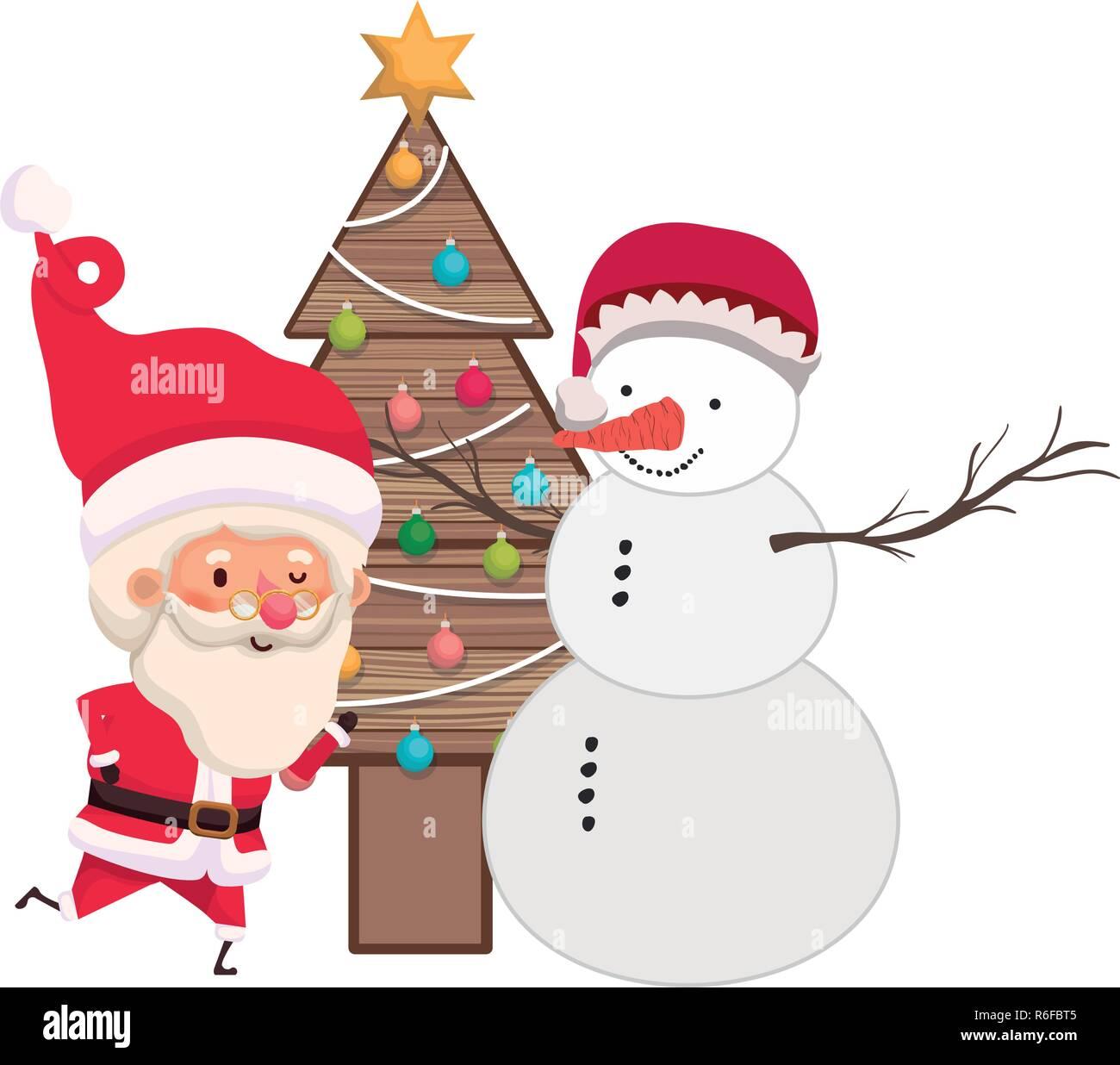 Santa Claus con el árbol de navidad y el muñeco de nieve Ilustración del Vector