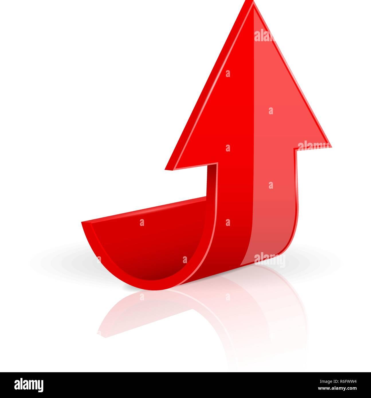 Flecha. Rojo subiendo iconos 3D. Imagen De Stock